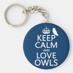 Basic Button Keychain with Keep Calm and Love Owls design