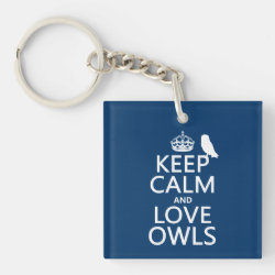 Square Keychain with Keep Calm and Love Owls design
