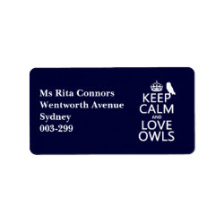 Address Label with Keep Calm and Love Owls design