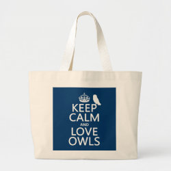 Keep Calm and Love Owls Jumbo Tote Bag