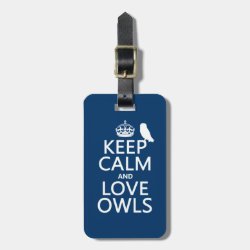 Keep Calm and Love Owls Small Luggage Tag with leather strap