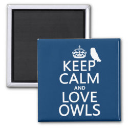 Square Magnet with Keep Calm and Love Owls design