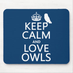 Mousepad with Keep Calm and Love Owls design