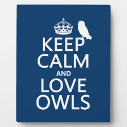 Photo Plaque 8' x 10' with Easel with Keep Calm and Love Owls design
