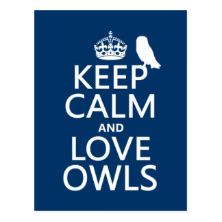 Keep Calm and Love Owls (any color) Post Cards