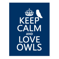Postcard with Keep Calm and Love Owls design