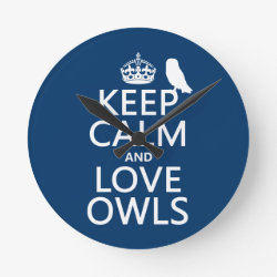 Medium Round Wall Clock with Keep Calm and Love Owls design