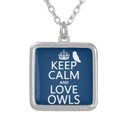 Small Necklace with Keep Calm and Love Owls design