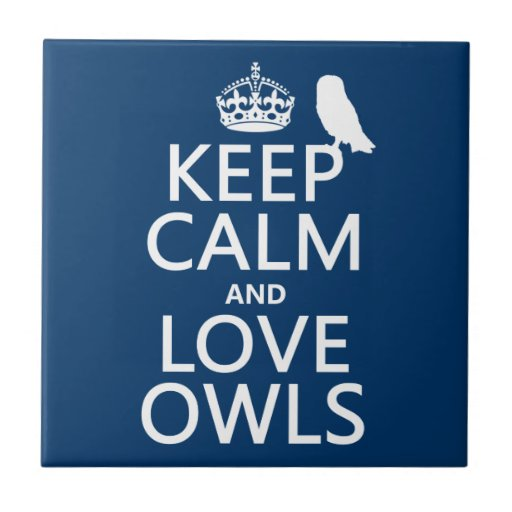 Keep Calm and Love Owls (any color) Small Square Tile