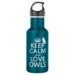 Water Bottle (24 oz) with Keep Calm and Love Owls design