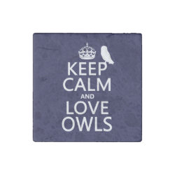 Marble Magnet with Keep Calm and Love Owls design