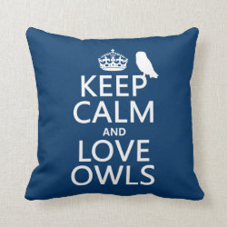 Cotton Throw Pillow with Keep Calm and Love Owls design