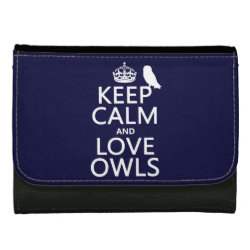 Medium Faux Leather Wallet with Keep Calm and Love Owls design