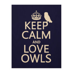 11'x14' Wood Canvas with Keep Calm and Love Owls design