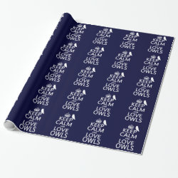 Glossy Wrapping Paper with Keep Calm and Love Owls design