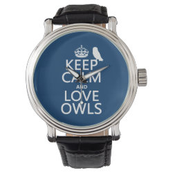 Men's Vintage Black Leather Strap Watch with Keep Calm and Love Owls design