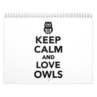 Keep calm and love owls calendar