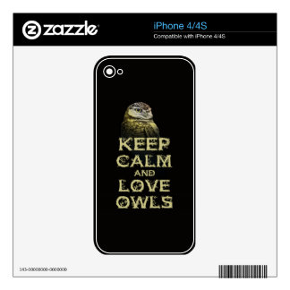 Keep Calm and Love Owls Original Owl Gift Stuff Skins For iPhone 4S