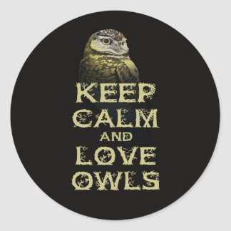Keep Calm and Love Owls Original Owl Gift Stuff Round Stickers
