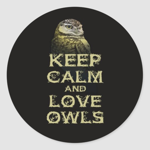 Keep Calm and Love Owls Original Owl Gift Stuff Classic Round Sticker
