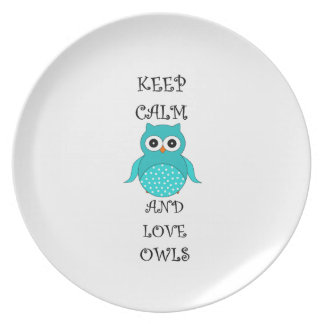 Keep calm and love owls party plate