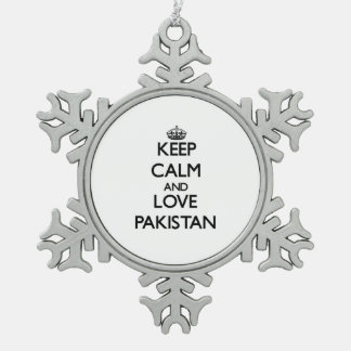 Keep Calm and Love Pakistan Snowflake Pewter Christmas Ornament