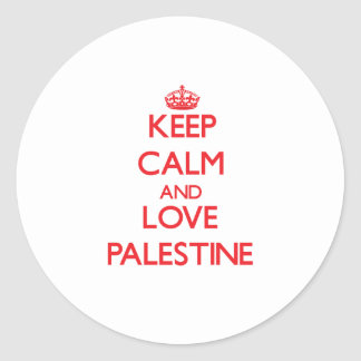 Keep Calm and Love Palestine Round Stickers