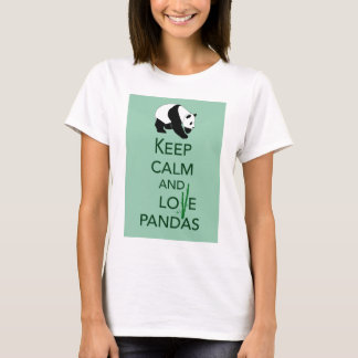 Keep Calm and Love Pandas Art Print Gifts T-Shirt