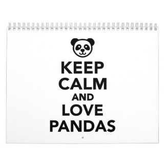 Keep calm and love Pandas Calendar