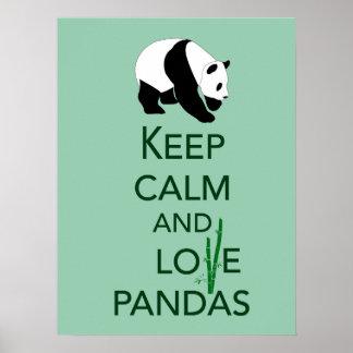 Keep Calm and Love Pandas Fine Art Print in Green