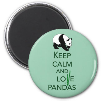 Keep Calm and Love Pandas Gift Art Print 2 Inch Round Magnet