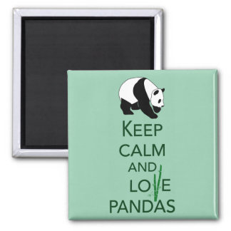 Keep Calm and Love Pandas Gift Art Print 2 Inch Square Magnet