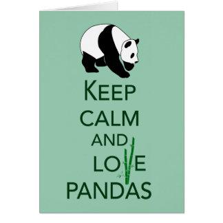 Keep Calm and Love Pandas Gift Art Print Greeting Cards