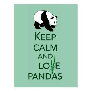 Keep Calm and Love Pandas Gift Art Print Postcard