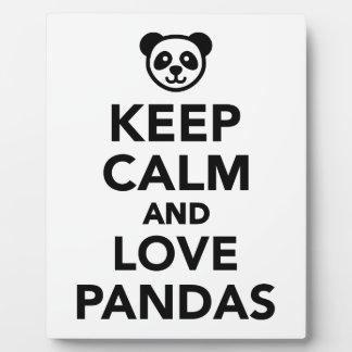 Keep calm and love Pandas Photo Plaques