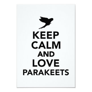 Keep calm and love parakeets customized invitation cards