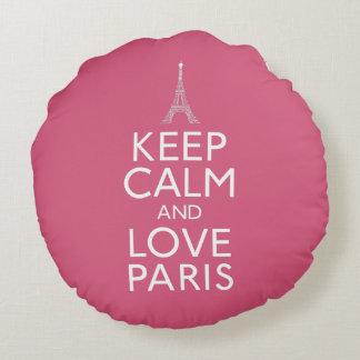 Keep Calm and Love Paris Round Pillow