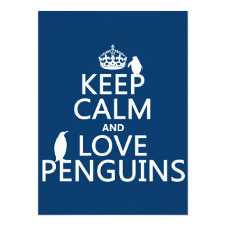 Keep Calm and Love Penguins (any color) Custom Announcements