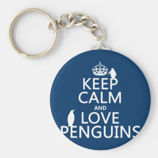 Keep Calm and Love Penguins (any color) Basic Round Button Keychain