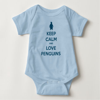 Keep Calm and Love Penguins (oceanside) Baby Bodysuit