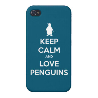 Keep Calm and Love Penguins (oceanside) iPhone 4 Case