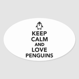 Keep calm and love Penguins Oval Sticker