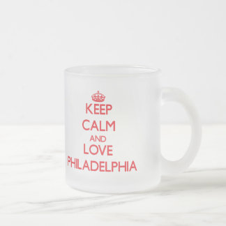 Keep Calm and Love Philadelphia 10 Oz Frosted Glass Coffee Mug