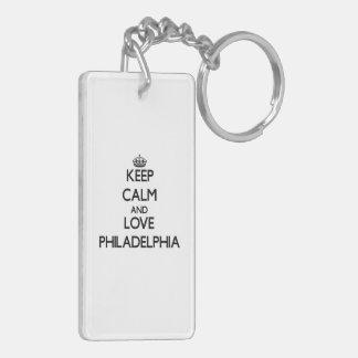 Keep Calm and love Philadelphia Double-Sided Rectangular Acrylic Keychain
