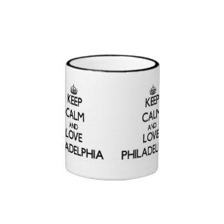 Keep Calm and love Philadelphia Ringer Coffee Mug