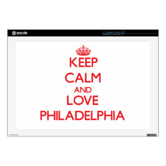 """Keep Calm and Love Philadelphia Decal For 17"""" Laptop"""