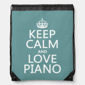 Keep Calm and Love Piano (any background color) Drawstring Backpack