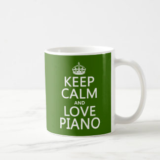 Keep Calm and Love Piano (any background color) Classic White Coffee Mug