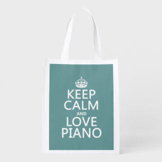 Keep Calm and Love Piano (any background color) Reusable Grocery Bag