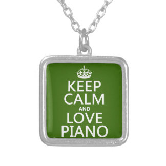 Keep Calm and Love Piano (any background color) Silver Plated Necklace